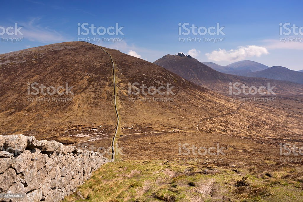 Mourne Wall in the Mourne Mountains in Northern Ireland stock photo