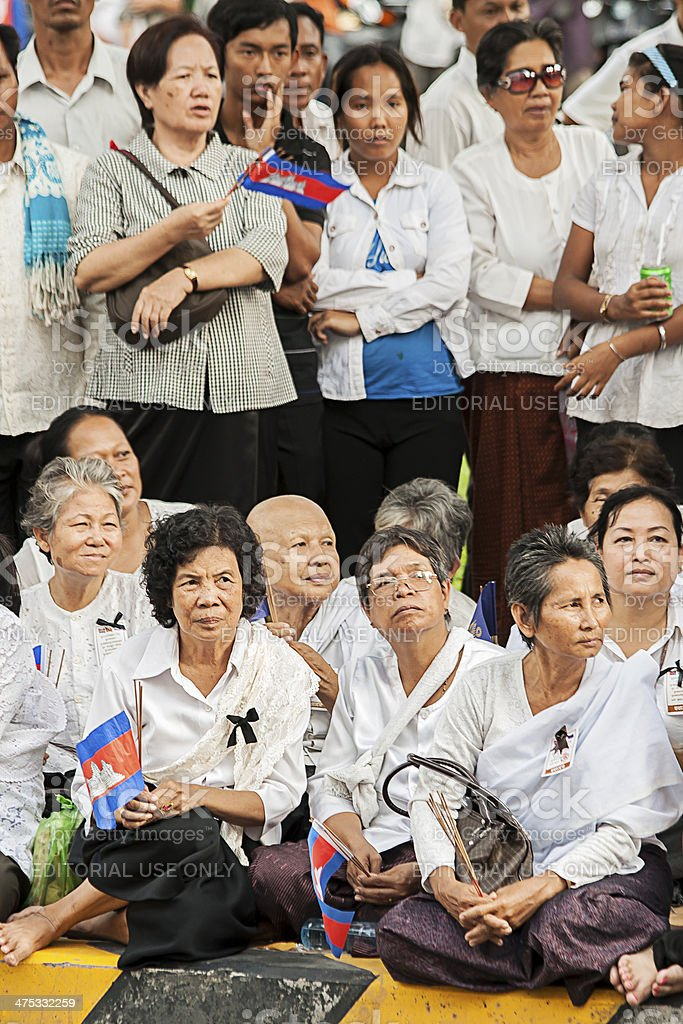 Mourners in Phnom Penh, Cambodia royalty-free stock photo