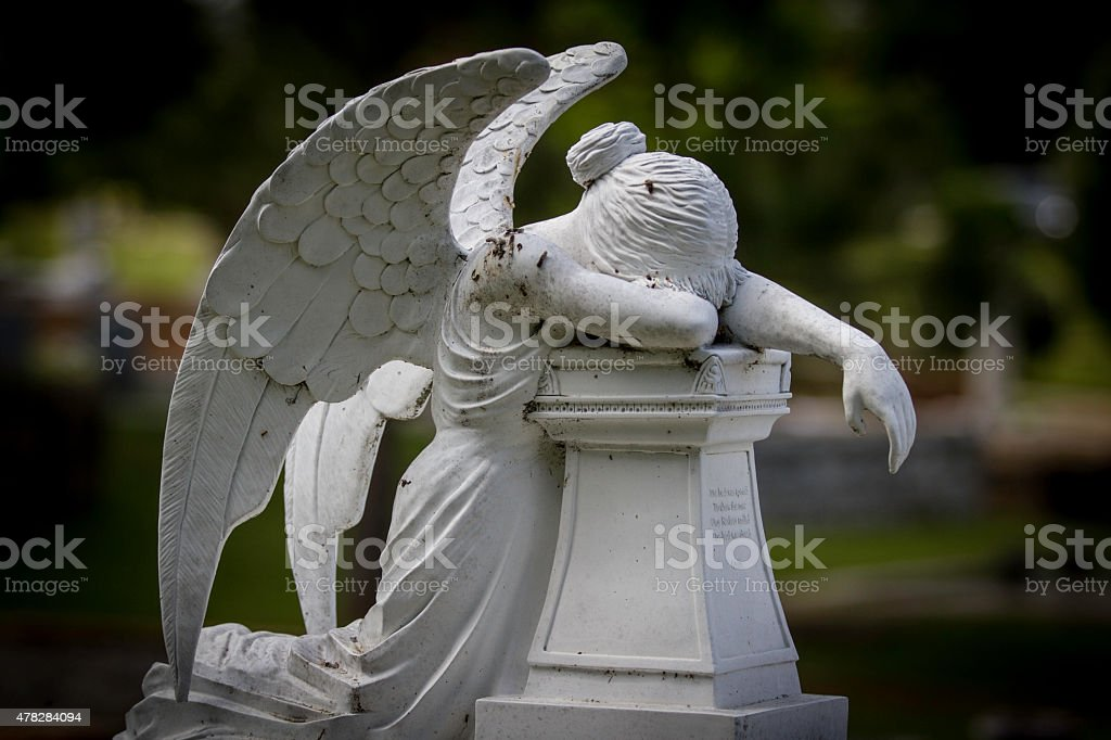 Mourning Angel Statue stock photo