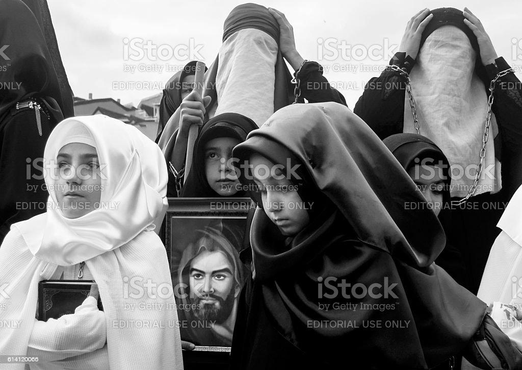 Mourning of Muharram in Turkey stock photo