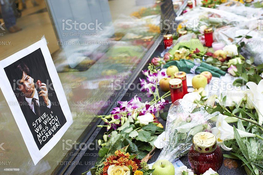 Mourning Steve Jobs stock photo