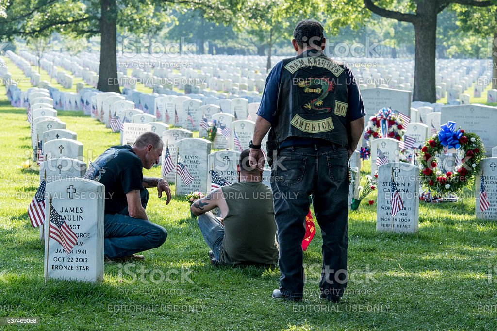 Mourning their Heavy Loss at Arlington National Cemetery stock photo
