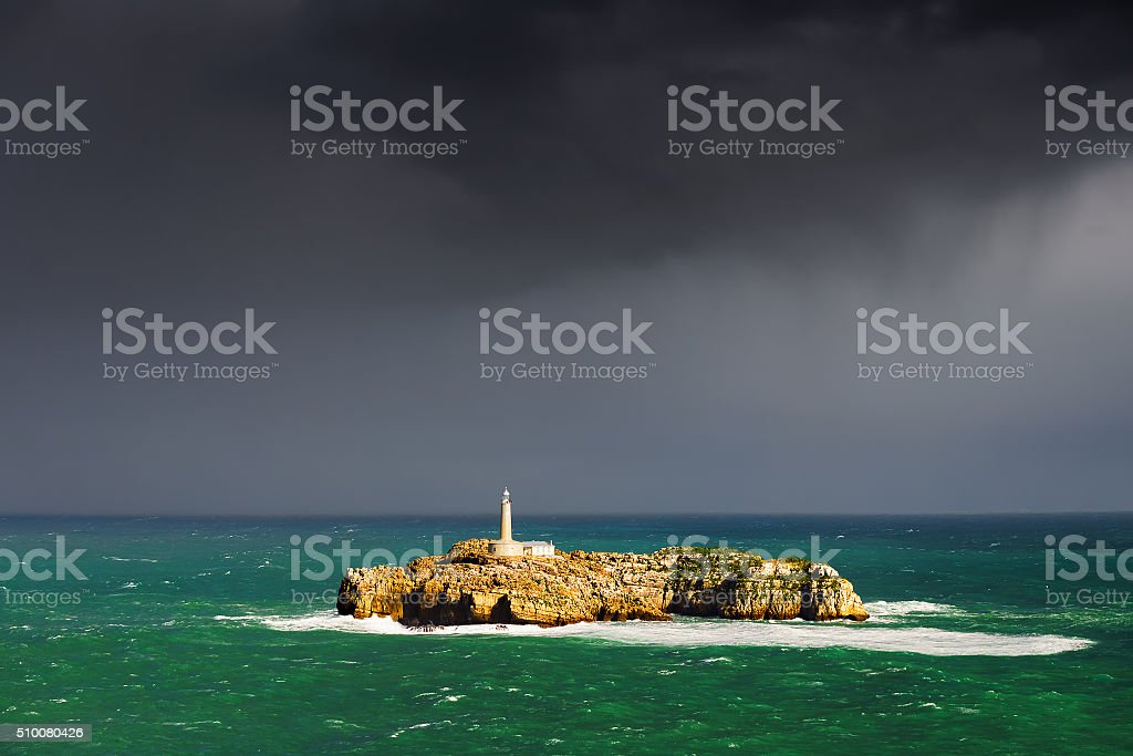 Mouro lighthouse in Santander stock photo