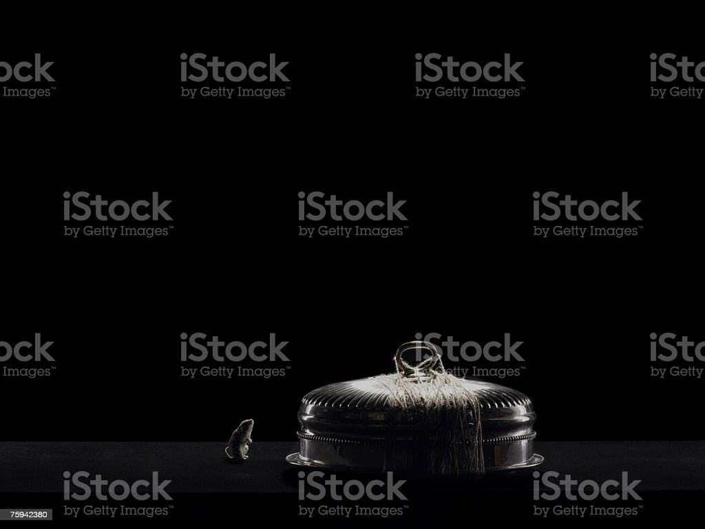 Mouse and a silver platter stock photo