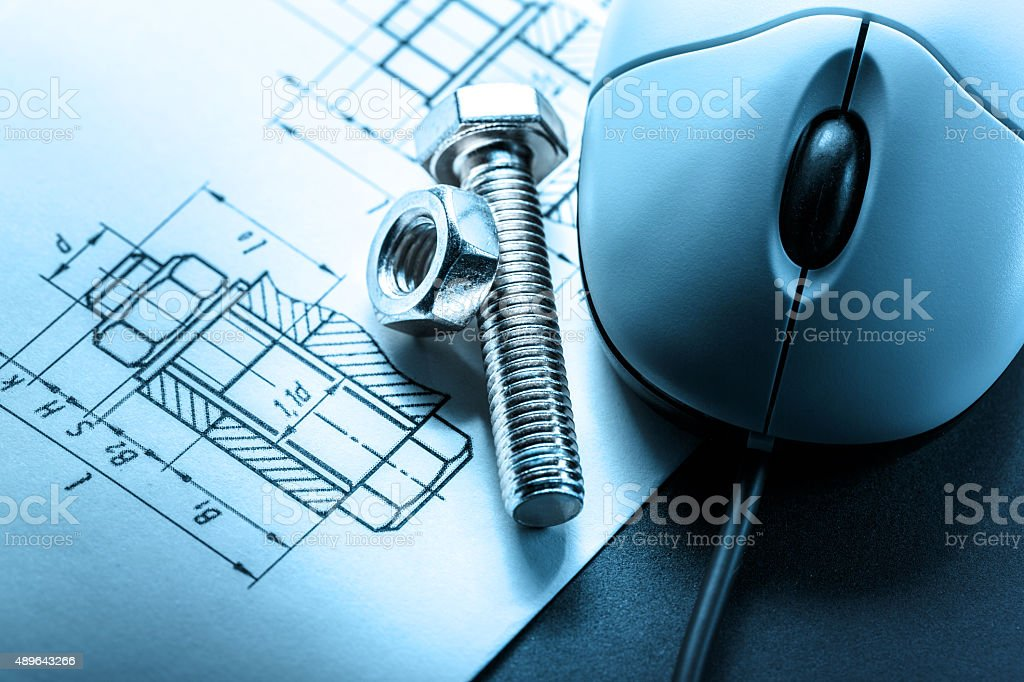 Mouse and screw bolt with nut stock photo