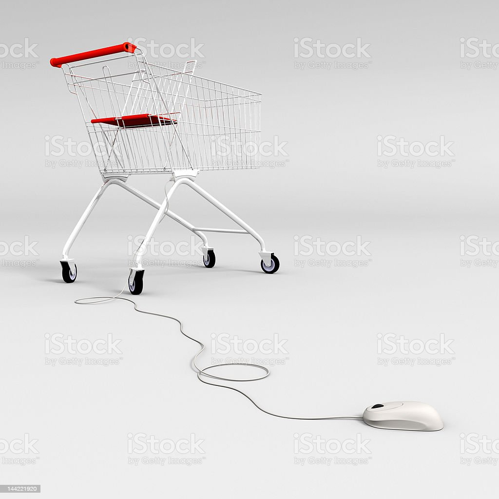 mouse controlled shopping cart vector art illustration