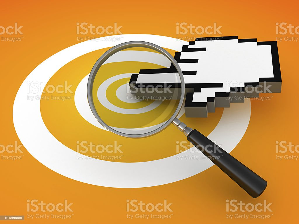 Mouse Cursor Click with Magnifying Glass royalty-free stock photo