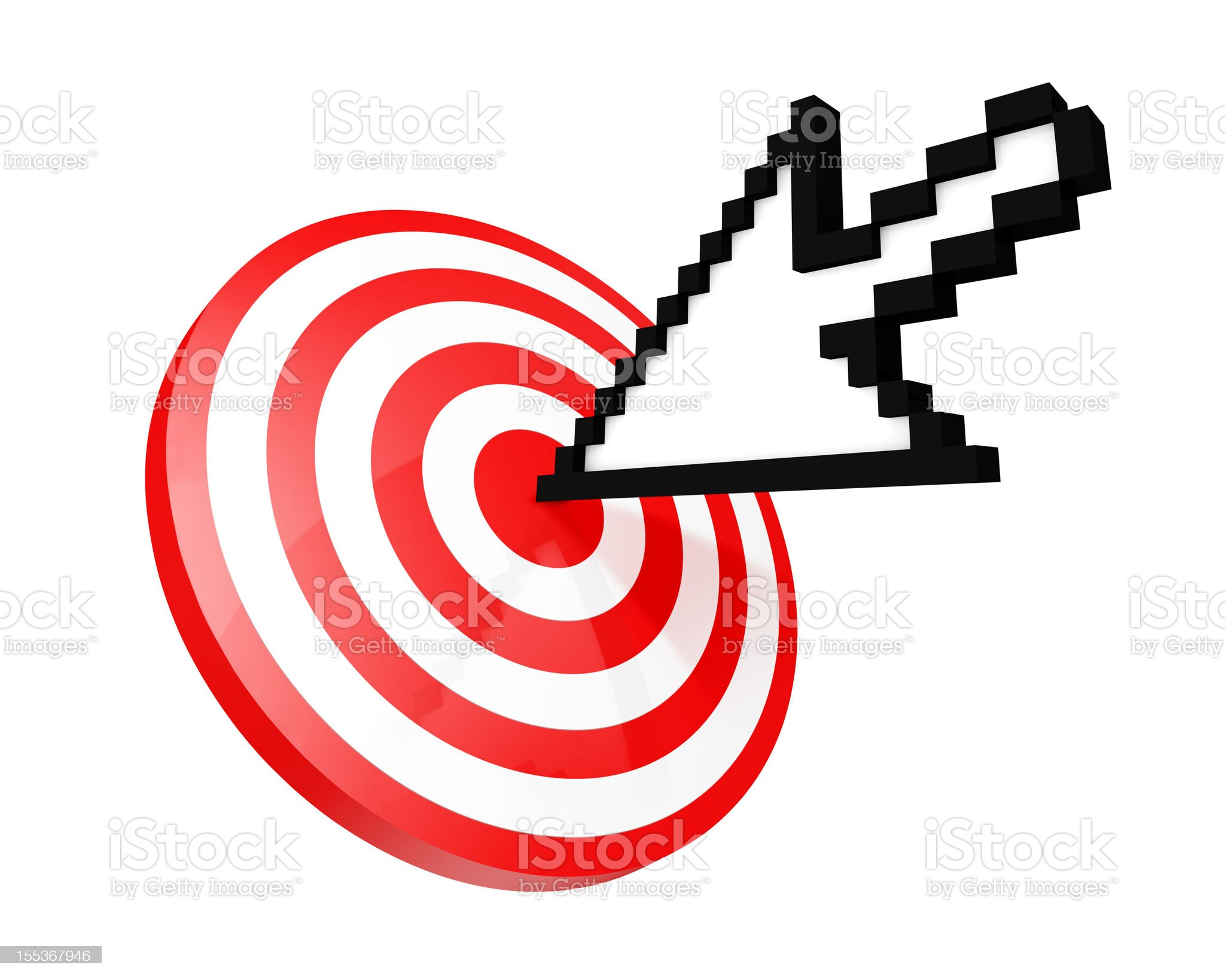 Mouse cursor hitting the target royalty-free stock vector art