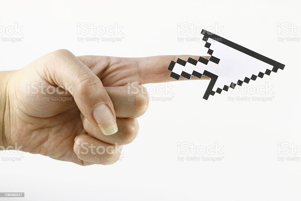 Mouse Cursor on the Finger royalty-free stock photo