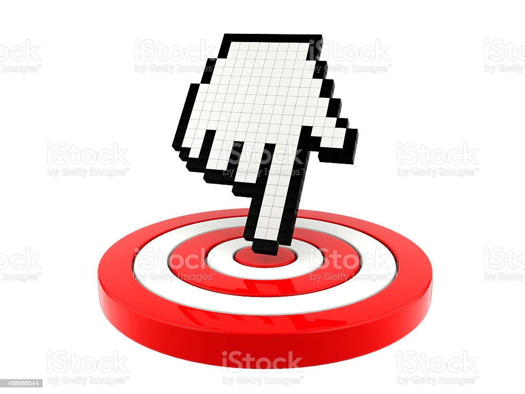 Mouse cursor pointing at target stock photo