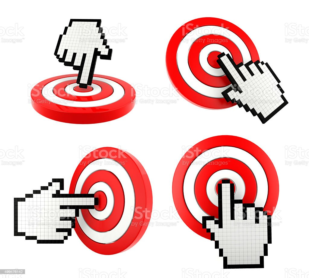Mouse finger cursor pointing at the target stock photo