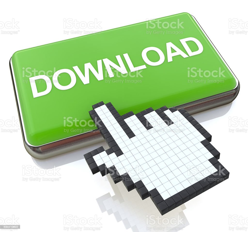 Mouse hand cursor on Download button stock photo