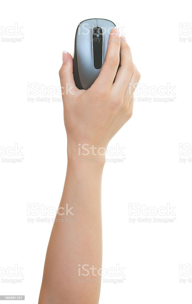 Mouse hand on white stock photo