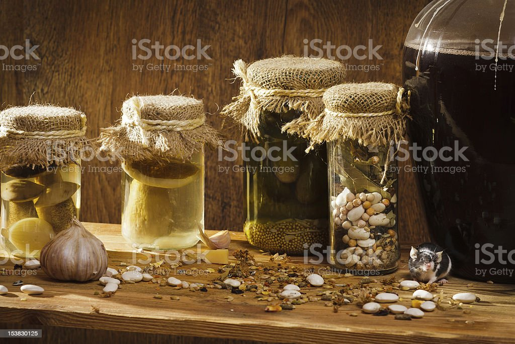 Mouse in larder with stockpiles royalty-free stock photo