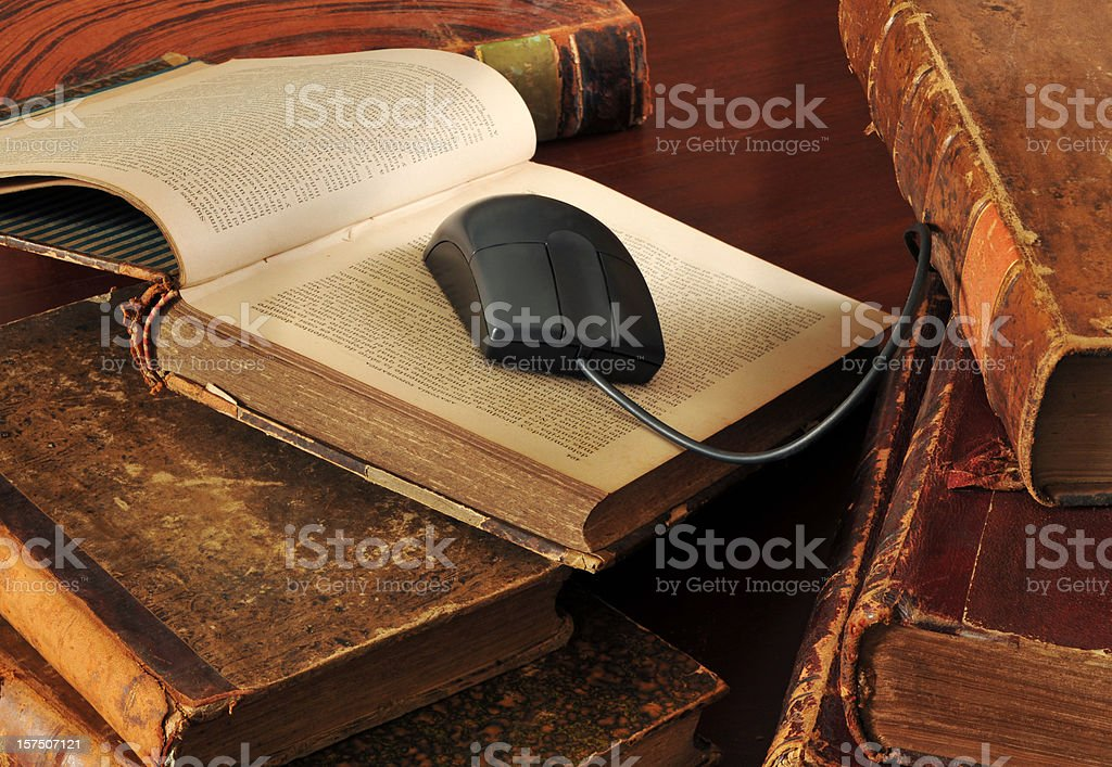 mouse in the old books royalty-free stock photo