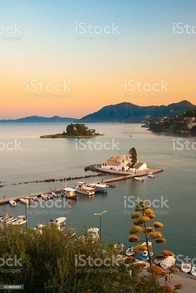 Mouse Island and Vellacherna Monastery, Kanoni peninsula, Corfu. M?useins stock photo