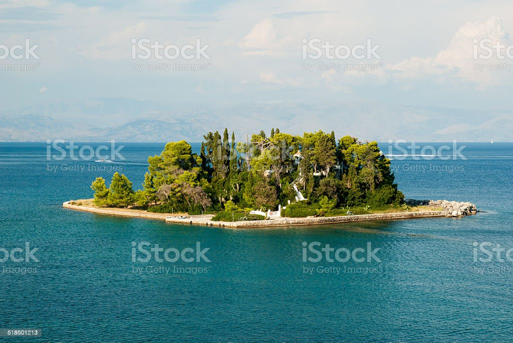 Mouse Island and Vlacherna Monastery, Corfu, Greece. M?useinsel stock photo