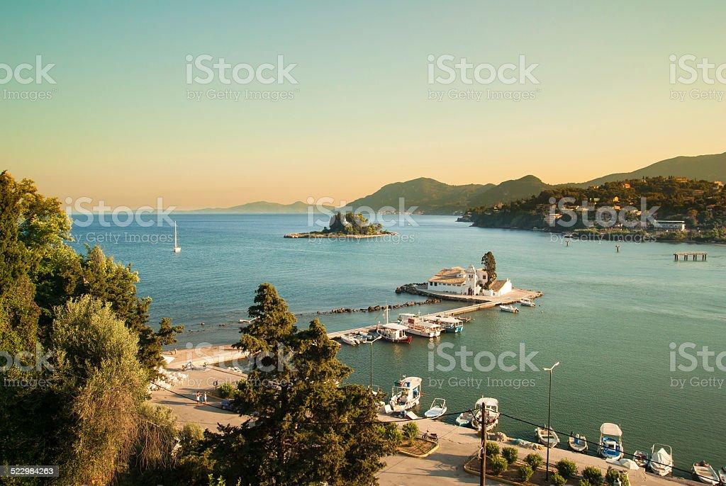 Mouse Island and Vlacherna Monastery, Corfu - Greece stock photo
