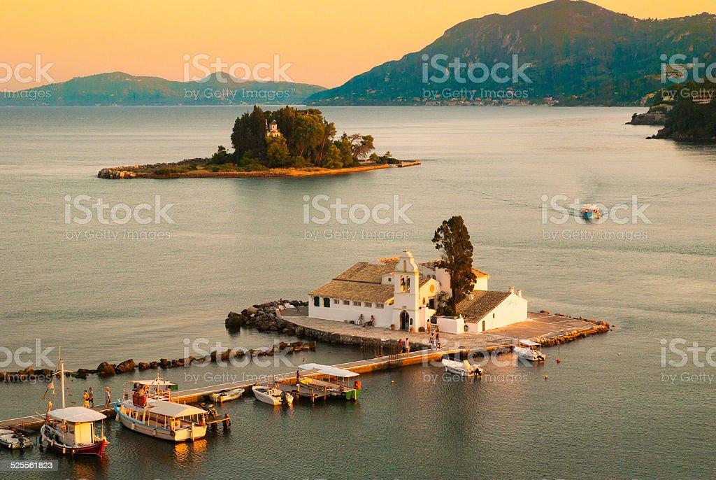Mouse Island and Vlacherna Monastery, Corfu Island - Greece stock photo
