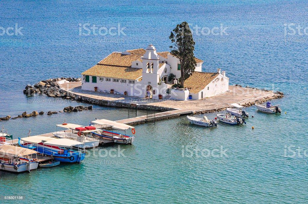 Mouse island near the coast of Corfu stock photo