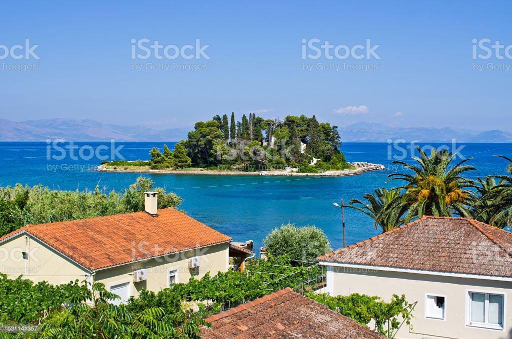 Mouse Island (Pontikonissi) on Corfu, Geece stock photo