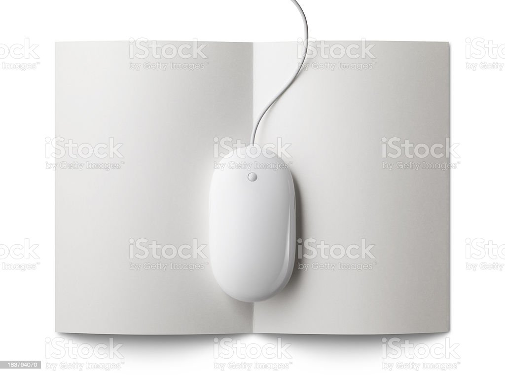 Mouse on a folded sheet of paper (or document) royalty-free stock photo