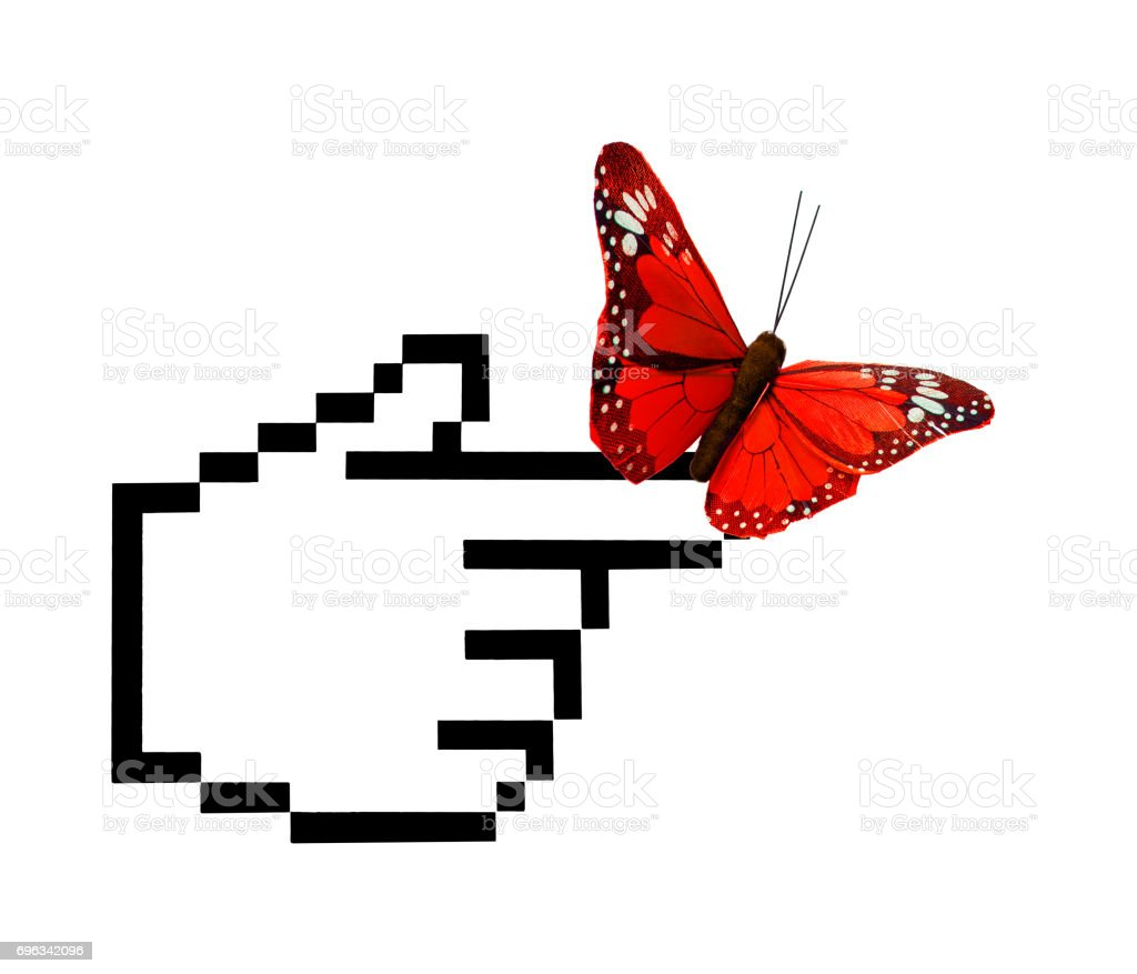 Mouse Pointer with Butterfly stock photo