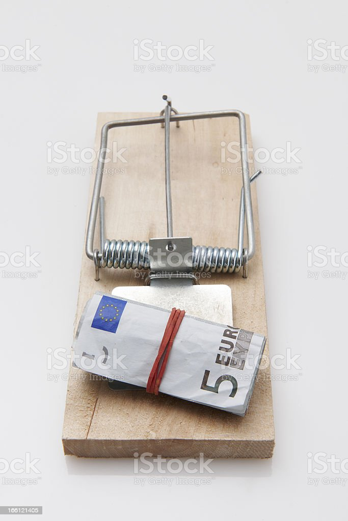 Mouse Trap euro bill royalty-free stock photo