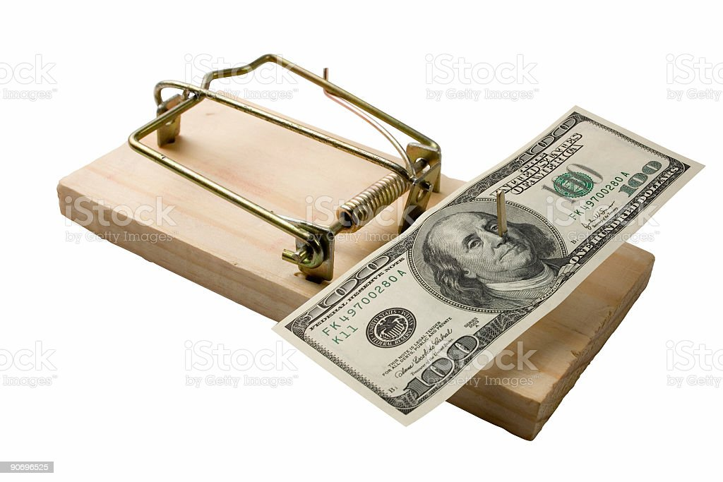 Mouse trap with bucks stock photo