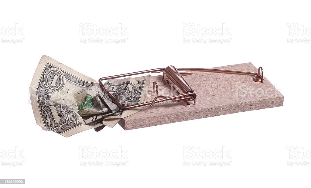 mouse trap with dollar note stock photo