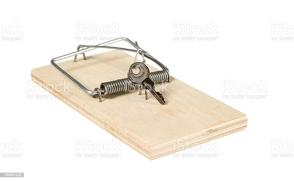 Mouse trap with keys royalty-free stock photo