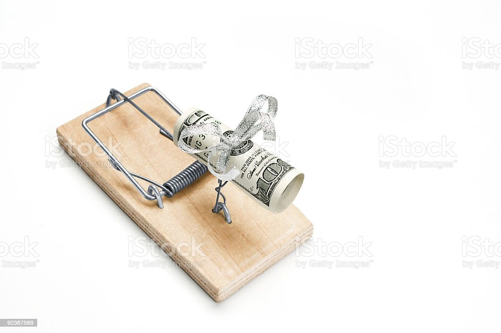 Mouse trap with money as a bait royalty-free stock photo