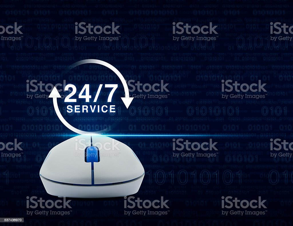 Mouse with 24 hours service icon, Full time service concept stock photo
