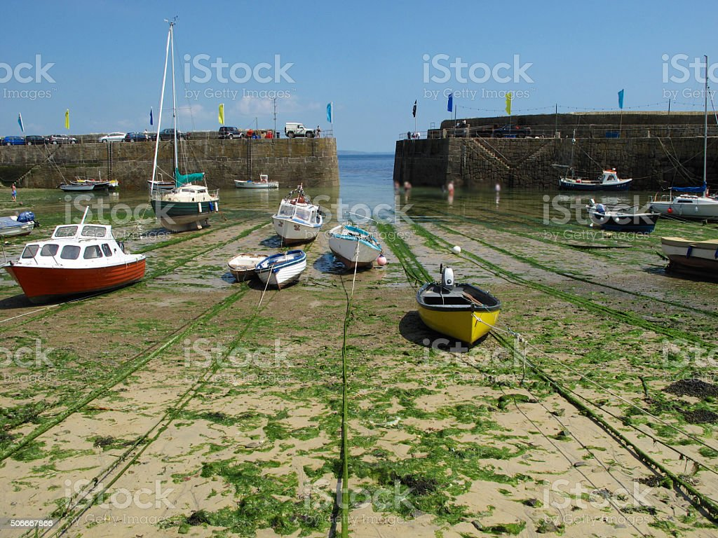 Mousehole harbour Cornwell stock photo
