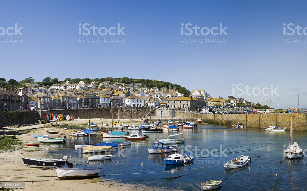 Mousehole Village and Harbour in Cornwall UK Fishing Village stock photo