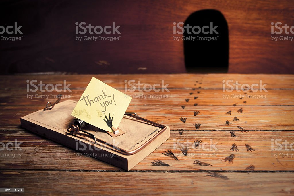 mousetrap thanks stock photo
