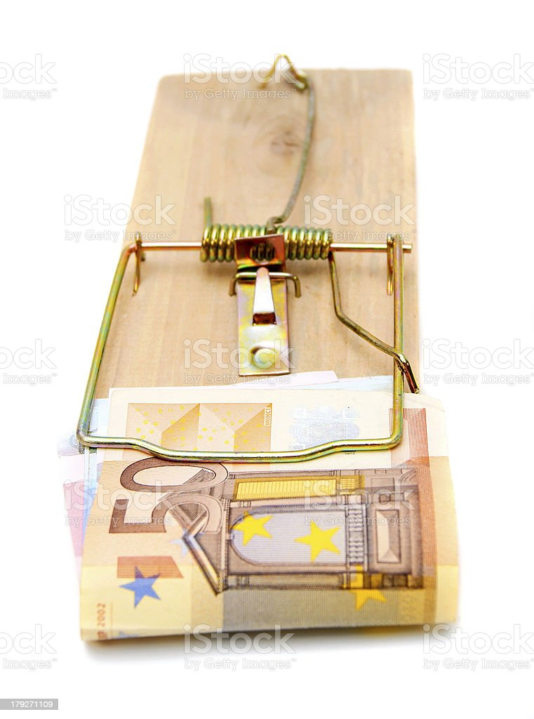Mousetrap with a banknote (50 euros). royalty-free stock photo