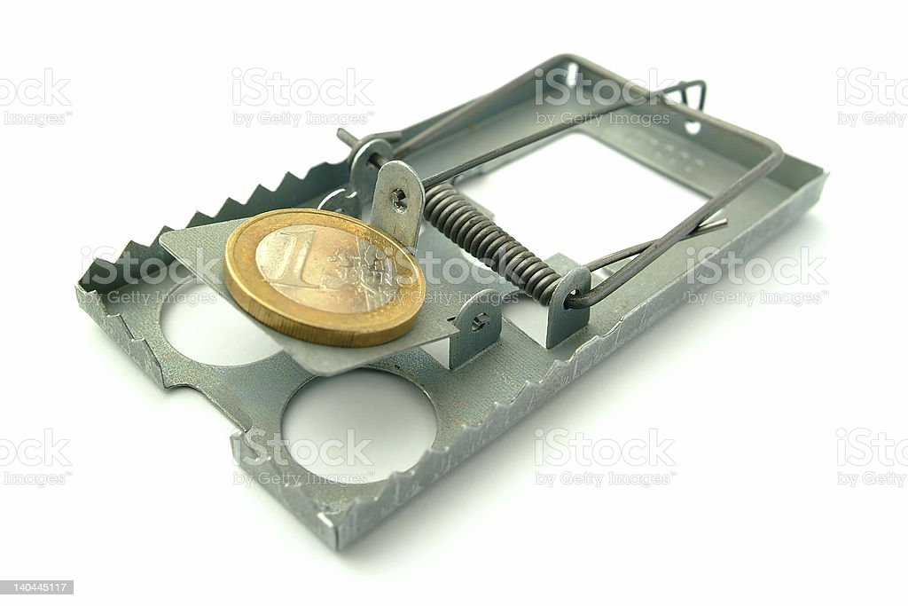 mousetrap with a euro coin as bait stock photo