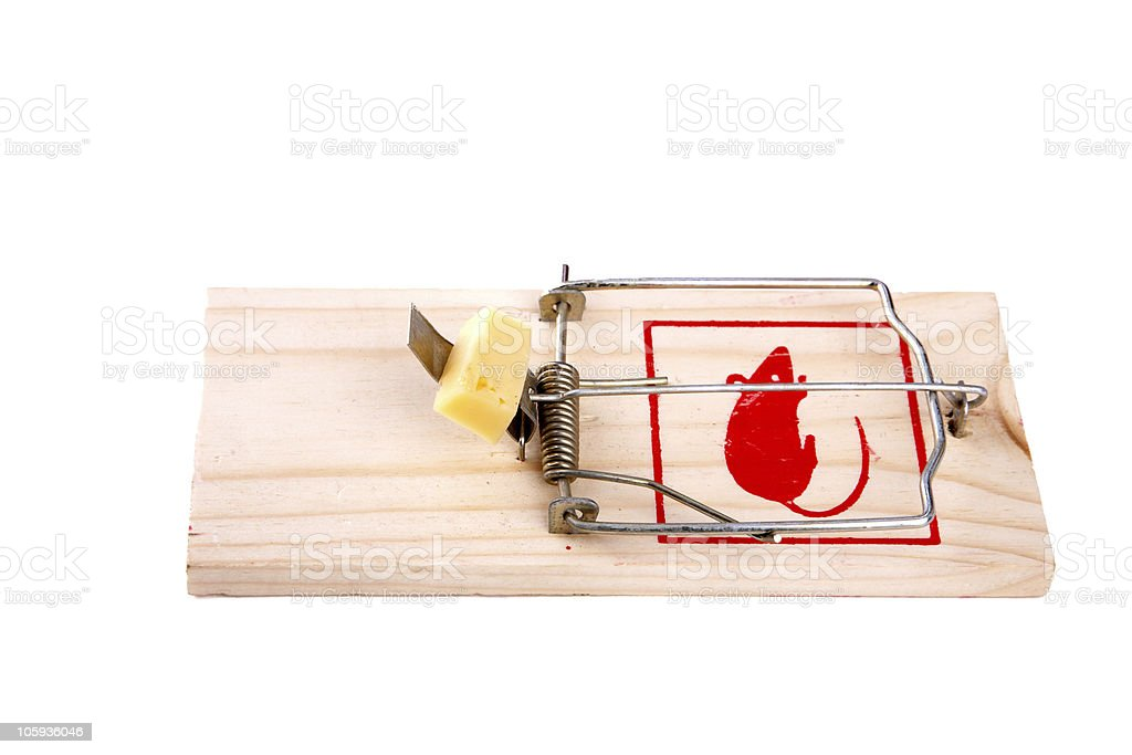 Mousetrap with cheese isolated stock photo