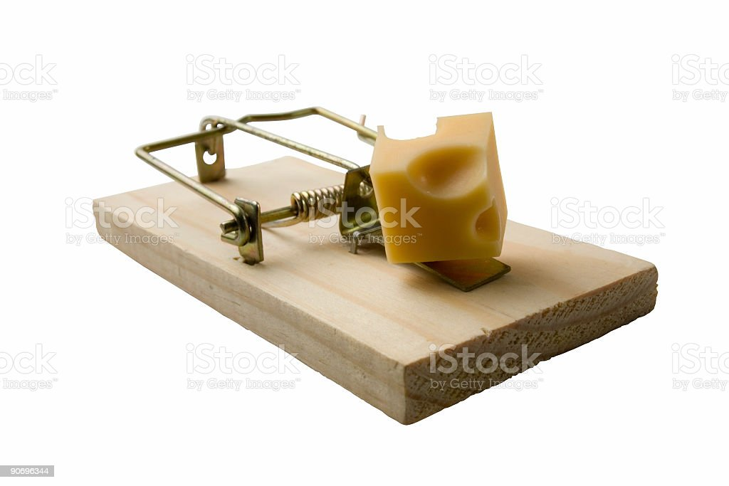 Mousetrap with cheese on a white background  royalty-free stock photo