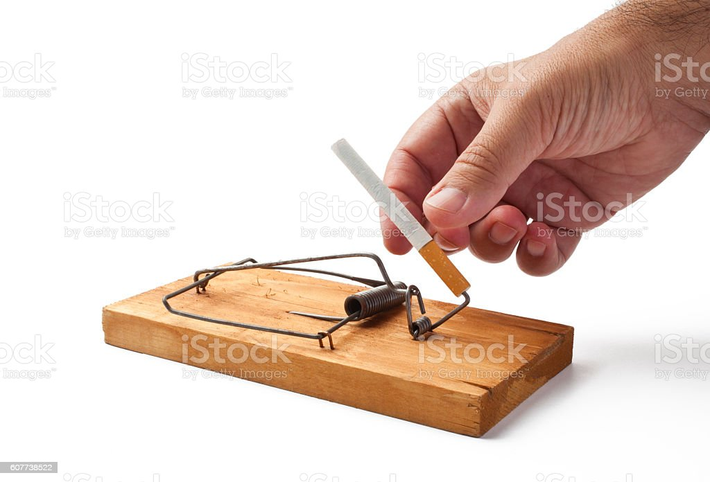 Mousetrap with Cigarette stock photo