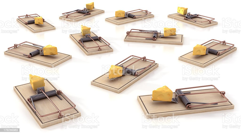 Mousetraps with cheese stock photo