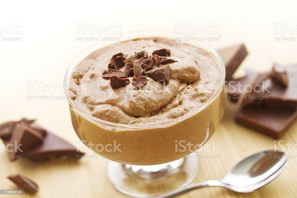 Mousse au chocolat with chocolate royalty-free stock photo