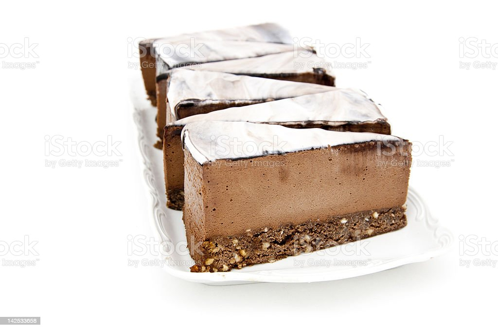 Mousse brownies in a row royalty-free stock photo