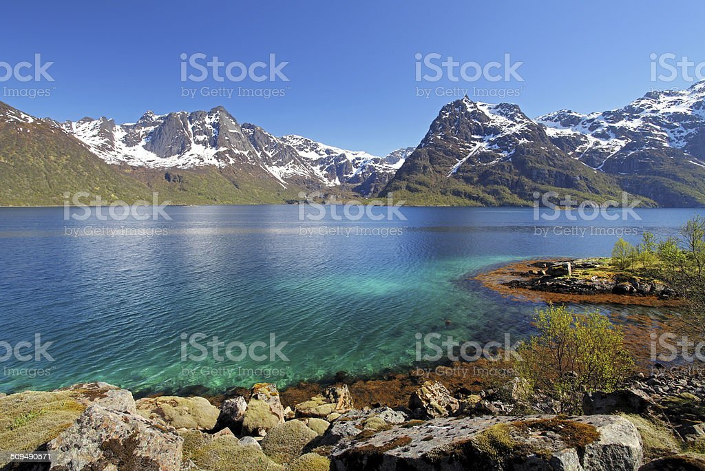 Moutain and lake sea landcape in Norway stock photo