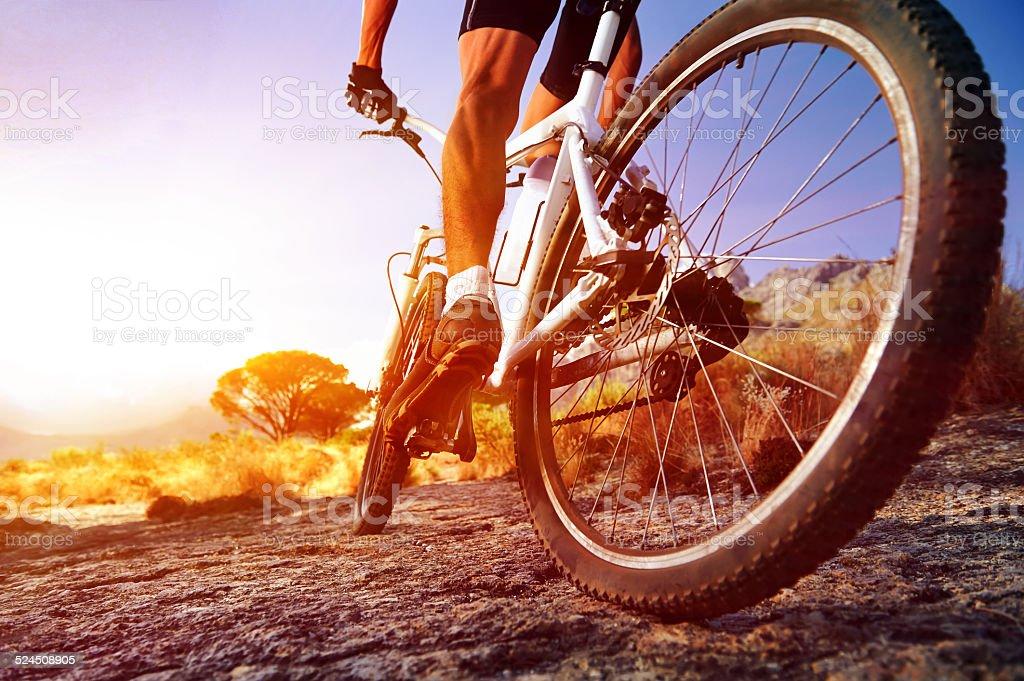 moutain bike man stock photo
