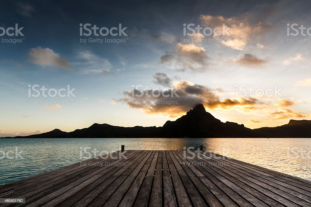 Moutain Otemanu in Bora Bora by Sunset stock photo