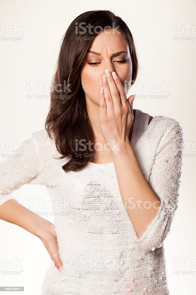 mouth breath checking stock photo