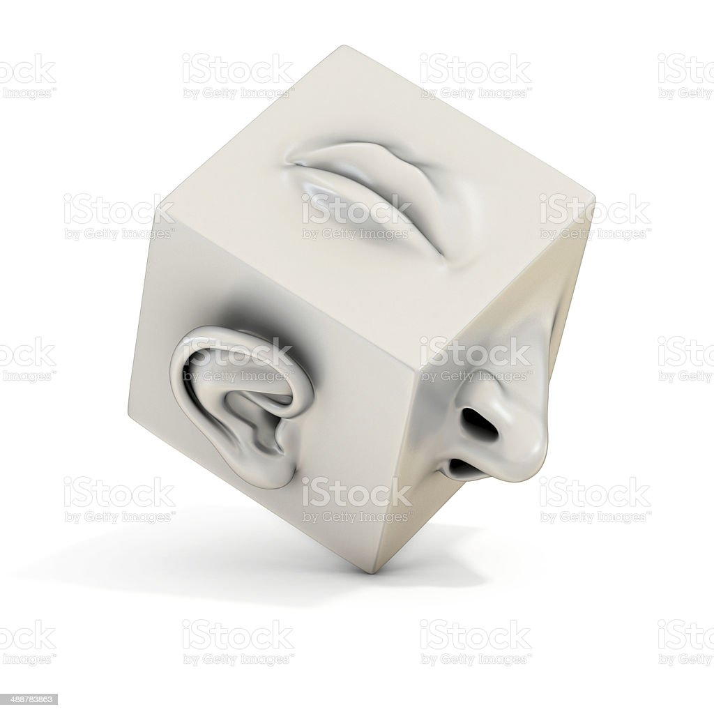 mouth nose ear abstract 3d illustration stock photo