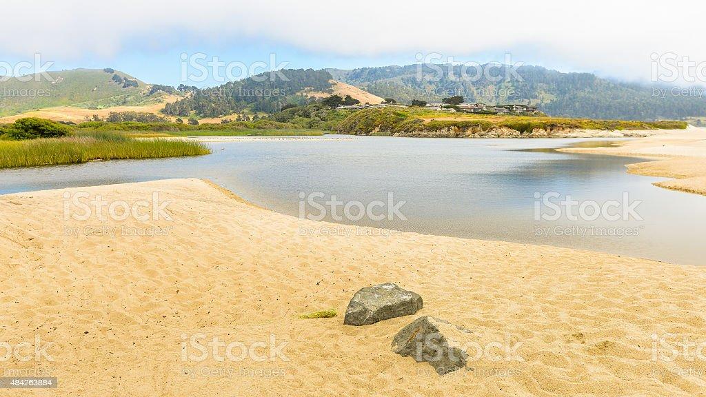Mouth of Carmel River, Carmel, CA stock photo